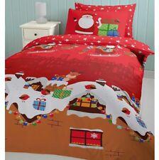Catherine Lansfield Santas Christmas Presents Single Duvet Cover Bedding Set Red