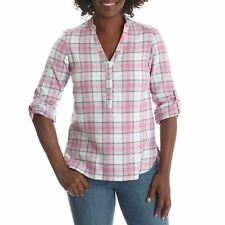 LEE RIDERS Women's Plaid  Long Sleeve Flannel Button Front Shirt - PINK - SMALL