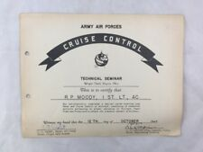 Orig WWII Army Air Forces Cruise Control Certificate Wright Field Dayton Ohio