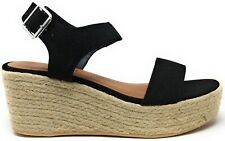 City Classified Womens Luthor Espadrille Wedge Sandal Black Size 6 M US