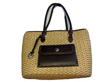 BRIGHTON Woven Leather Trim Handbag