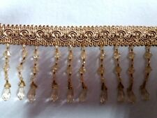 beaded fringe ,acrylic,2.5 inch ,sold by 3 yards ,light gold