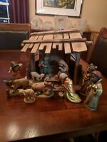 "Vintage Anri Ferrandiz Italy hand carved Nativity Set 6"" 12 Pieces with Stable"