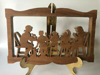 Vintage Amish Scroll Saw Folk Art Carving Wood Silhouette Family Wall Kitchen
