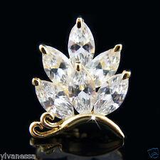 Diamond crystals pin brooch 18k Gold Gf butterfly