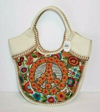 ISABELLA FIORE SAKS PEACE SIGN PIPER EMBROIDERED LEATHER HOBO HANDBAG NWT $695