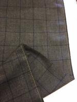 Grey & Blue Window Pane Check 100% Wool Suit/Jacketing Fabric 290g