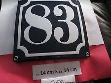 Hausnummer Emaille Nr. 83 weisse Zahl auf blauem Hintergrund 14 cm x 14 cm .....