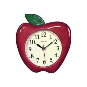 "Westclox Analog Quartz 10"" 3D Red Apple Resin Wall Clock 32038A"