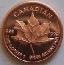 50 x 999 Cuivre Monnaie de Pièce Maple Leaf Très Noble Rare & Neuf