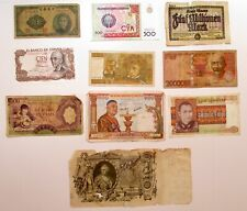 Mixed Variety of 10 Large Vintage Banknotes World Currency Paper Money Lots