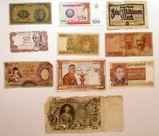 Mixed Variety of 10 Large Vintage Banknotes World Currency Paper Money Lots 00004000