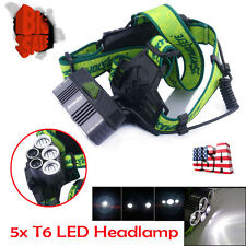 US Tactical Rechargeable 50000lm CREE 5XT6 LED White Light Headlamp HeadlightAC