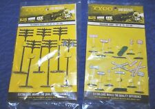 2 piece Tyco HO scale lot- 12 Trackside signs, 12 telegraph poles - New!