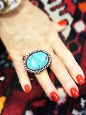 Large Sterling Silver Turquoise Ring with Turquoise
