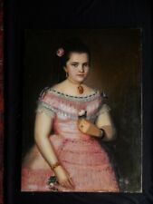 JOSE MARIA VASQUEZ Early 19th Century Spanish Colonial oil Girl with a Rose
