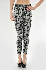 AMAZING  SEXY BLACK AND WHITE LETTER PRINT FULL LEGGINGS ONE SIZE