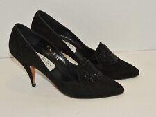 Vintage c. 1970's Academia Design London Black Suede High Heels w Beading sz 7Aa