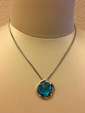 AUTHENTIC DAVID YURMAN STERLING SILVER 14MM BLUE TOPAZ INFINITY PENDANT NECKLACE