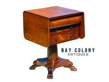 19TH C ANTIQUE AMERICAN EMPIRE MAHOGANY 3 DRAWER WORK TABLE / NIGHTSTAND