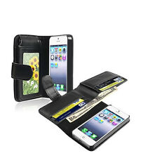 New Black Wallet Magnetic Flip PU Leather Phone Case Cover For iPhone 5/5S US
