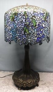 Weeping Wisteria Tree Stained Glass Meyda Tiffany Style Table Lamp w/ Feet