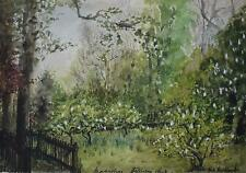Battersea Park in Spring PAIR Watercolour Lndsps Indistinctly Bill Oashley 1961