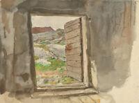 Alfred William Strutt (1856-1924) - Signed Watercolour, Rural Cottage Interior
