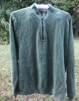 Tommy Bahama Men's Green Sweater Cotton 1/4 Zip Relax Pullover Size Xl