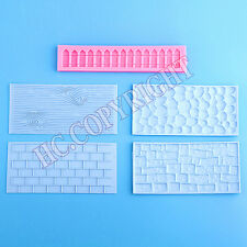 5pcs 3D Garden Stone Wall Fence Theme Fondant Mould Cake Decorating DIY Mold