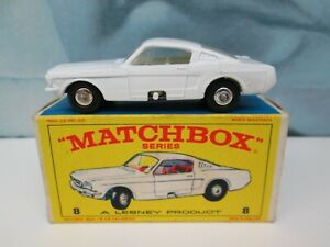 Matchbox/ Lesney 8e Ford Mustang White - WHITE Interior - Silver Wheels - Boxed