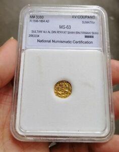 1596-1604 Acheh Gold Coupang NNC MS63
