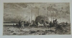 ca.1883 - ETCHING by PETER MORAN -  INDIANS HARVEST AT SAN JUAN NEW MEXICO