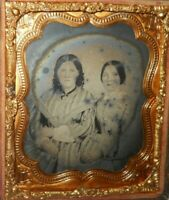 Nice 1/6th size Ambrotype of two young ladies in half Case