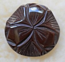 "Vintage Deep Brown Beautifully Carved XLarge Bakelite Shank Button 1 5/8"" x 1/4"""
