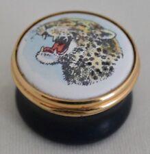 Tks Enamels Leopard Miniature Round Hinged Box Toye Kenning & Spencer England