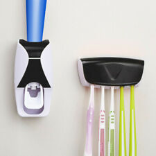 Toothbrush Holder Automatic Toothpaste Dispenser Set Wall-Mounted Storage UK