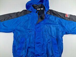 Vintage Marlboro Unlimited Men L Blue Windbreaker Hooded Jacket Outdoor Casual F