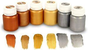 KrevoArt Metallic-Acrylfarben, 6 x 20ml, Cremig deckend, schnelltrocknend