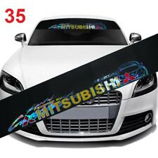Mitsubishi Window Windshield Black Vinyl Banner Glossy Color Decal Sticker #35