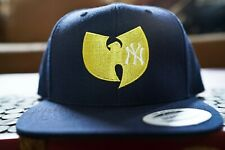 New York Yankees, Wu Tang, 90s Hip Hop, Embroidered Snapback Hat in Blue