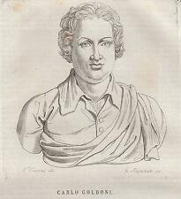Carlo Goldoni incisione in rame 1839