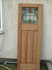 "26"" 7/8  x 78""Stripped Pine Stained glass 1920 /30S internal Door MP~945 vgc"