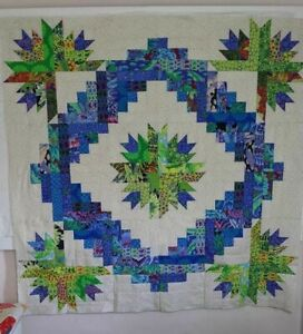 65X65 QUILT TOP KAFFE FASSETT FABRIC GREENS BLUES UNFINISHED NEEDS QUILTING