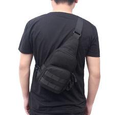 Mens Molle Tactical Sling Chest Bag Pack Outdoor Messenger Shoulder Bag Black