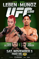 UFC 138 Chris Leben vs Mark Munoz Sports Poster 12x18