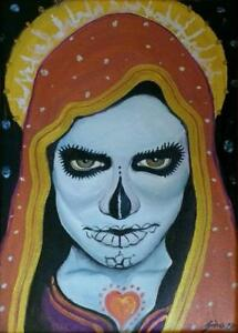 Day Of The Dead A3 PRINT from Original Oil Painting Folk Only Death Mexican Art