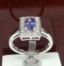 18k white gold ring pr. diamonds 0.46ct. and 7x5 ov Tanzanite fine ring Gemstone