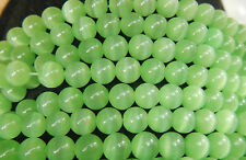 48 Pcs  WHOLESALE 8mm  CAT'S EYE FIBER OPTIC BEADS - LIGHT GREEN