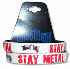 MISS MAY I STAY METAL 2-PK B&W REVERSIBLE SILICONE WRISTBANDS NEW OFFICIAL BAND